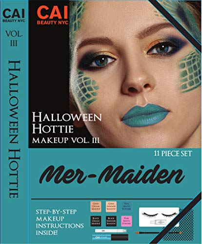 (11-Piece Makeup Set Halloween Hottie Costume FX Face Paint Make Up Kit for Adults, Mer-Maiden)