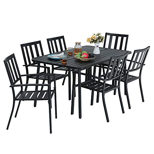 MF Studio 7-Piece Metal Outdoor Patio Dining Bistro Set with 6 Striped Armrest Chairs and Steel Frame Slat Larger Rectangular Table, 59 x 35 x28 Table and 6 Backyard Garden Chairs, Black