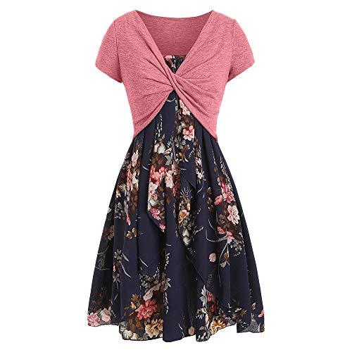 KCatsy Spaghetti Strap Dress Two-Piece Floral Print]()