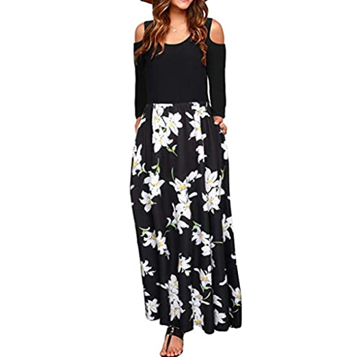 2019 original shop for newest greatvarieties TLoowy Maxi Dress, Women 2018 Cold Shoulder Long Sleeve Boho Floral Long  Beach Dresses Cocktail Party Dress with Pocket