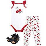 Hudson Baby Unisex Baby Bodysuit, Bottoms and Shoes, Cherries 3-Piece Set, 6-9 Months (9M)