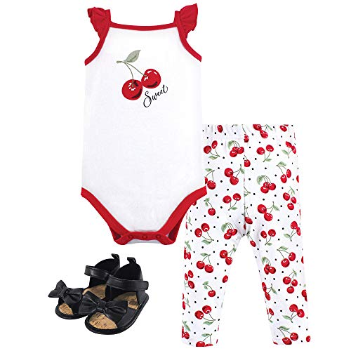 (Hudson Baby Unisex Baby Bodysuit, Bottoms and Shoes, Cherries 3-Piece Set, 6-9 Months (9M))