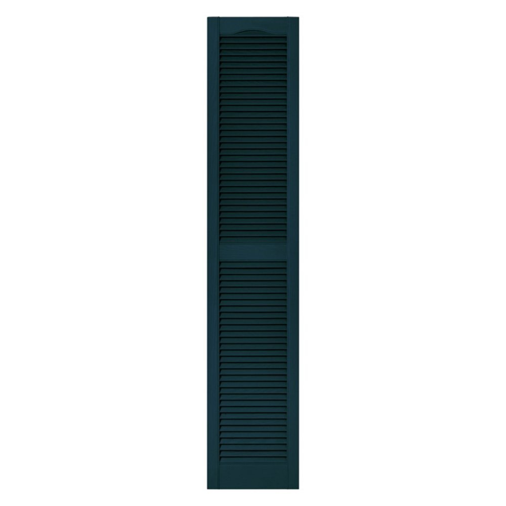12 in. x 72 in. Louvered Vinyl Exterior Shutters Pair in #166 Midnight Blue