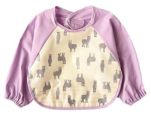 La Vogue Toddler Baby Cute Cartoon Waterproof Sleeved Bib Apron Purple - Purple Pradas