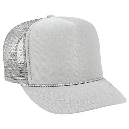 Youth Foam (Product of Ottocap Polyester Foam Front Youth Five Panel High Crown Trucker Hat -Gray [Wholesale Price on Bulk])