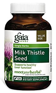 Gaia Herbs Milk Thistle Seed, Vegan Liquid Capsules, 120 Count - Liver Cleanse Supplement, Supports Detox and Metabolism, Naturally Concentrated Silymarin Extract 600mg
