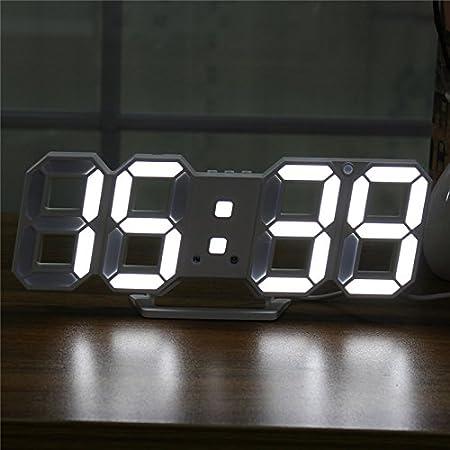 MYAMIA Digital Moderna Grande Led Pared Esqueleto Reloj Temporizador 24/12 Horas Display 3D Gife-Blanco: Amazon.es: Hogar