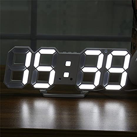 MYAMIA Digital Moderna Grande Led Pared Esqueleto Reloj Temporizador 24/12 Horas Display 3D Gife-Blanco: Amazon.es: Hogar