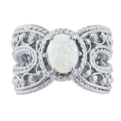 - Simulated Opal Oval Cocktail Design Ring .925 Sterling Silver Rhodium Finish