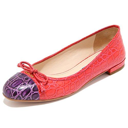 8449I PRADA ballerina donna shoes woman rosso/viola rosso/viola