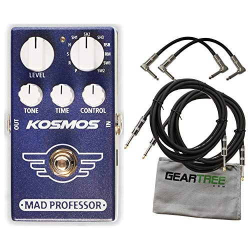 Mad Professor Kosmos Reverb Effects Pedal Bundle w/ 4 Cables and Cloth