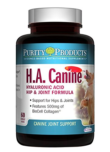Purity Products Advanced Canine Hyaluronic Acid   BioCell Collagen   Hip & Joint Formula Collagen for Dogs 60 Tablets