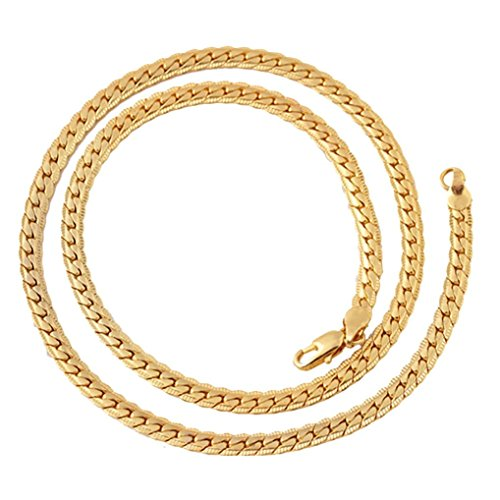 Chrikathy Men Women Fashion Flat Embossed Chain Filled Curb Cuban Link Simple Gold Necklace Jewelry