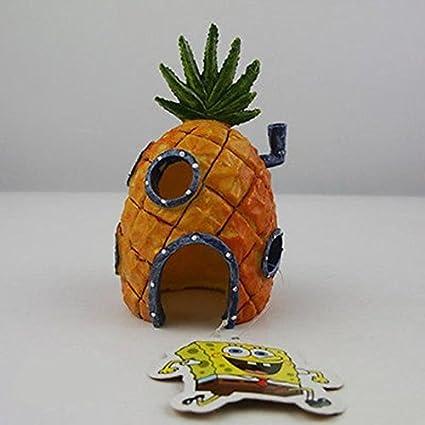 J*myi Pineapple Casa pecera acuario adorno decoración paisajismo dibujos animados casa Escape agujero Mini