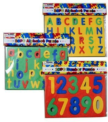FOAM PUZZLE ALPHABET & NUMBERS 3AST STYLES X 4 BRIGHT COLORS, Case Pack of 48 from D&D