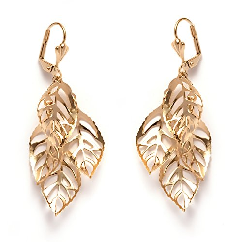Gold Plated Leaf Drop Earrings product image