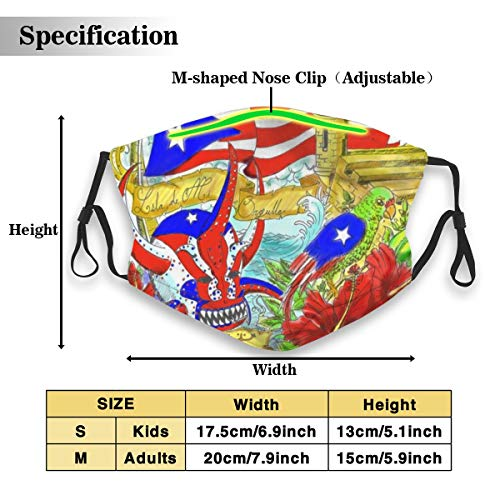 Protective Dust Mask, Activated Carbon Filter Mask, Fun Flag Of Puerto Rico Dustproof Safety Mask for Adults Kids
