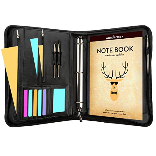 Wundermax Portfolio Binder A Zippered Padfolio with 3 Ring Binder Document Organizer Professional Interview PU Leather Folder Resume Holder Work Portfolio with Notebook and 10.1 Inch Tablet Sleeve -