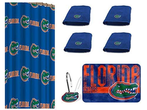 NCAA Florida Gators 18 Piece Bath Ensemble. Set Includes 1 Shower Curtain, 12 Shower Hooks, 4 Bath Towels, and 1 Bath mat. ()