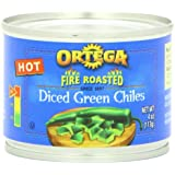 Ortega Original Fire Roasted Diced Green Chiles, 4 Ounce (Pack of 24)
