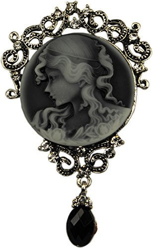 Cameo Rhinestone Pin - Brooch,Victorian Lady Cameo Brooch Pin , Antique Silver Colored with Rhinestones + FREE GIFT BAG