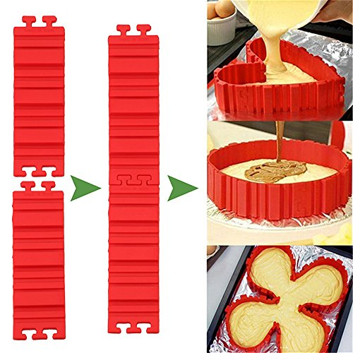 Magic Bake Snake Silicone Cake Molds for Baking Non Stick 4 Piece (Red Color)