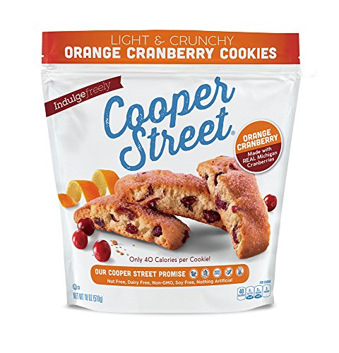 - Cooper Street Cookies, Orange Cranberry Cookies, 18 oz (2 pack), Twice-Baked Cookies, Dairy-Free, Nut-Free, Soy-Free, Low Calorie Gourmet, Old-Fashioned Biscotti Cookies