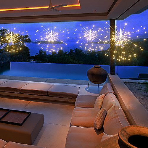 Ikakon LED Fairy Lights 6V Hanging Starburst Light 300 LED,8 Modes Fairy Lights Dimmable with Remote Control,Decoration for Outdoor Home Patio Wedding Party 3 Pack