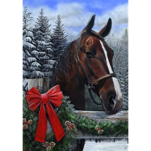 winter horse winter christmas themed standard size 28 inch x 40 inch decorative flag