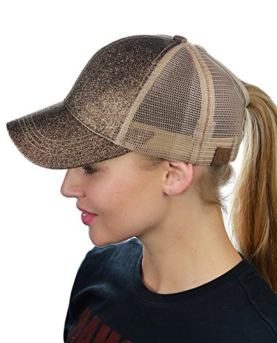 C.C Ponycap Messy High Bun Ponytail Adjustable Glitter Mesh Trucker Baseball Cap, Smoky Topaz (Pony Floral Ball)