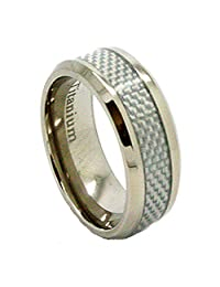 8mm Titanium White Carbon Fiber Wedding Band