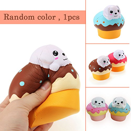 low Rising Kawaii Scented Soft Puff Dog Bread Toy Stress Relief for Collection Gifts by Shellvcase ( Random Color 1PC ) ()