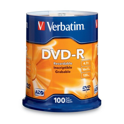 Verbatim 4 7Gb Up To 16X Branded Recordable Disc Dvd R 100 Disc Frustration Free 97460