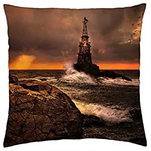 Lighthouse at Stormy Sea - Throw Pillow Cover Case (18