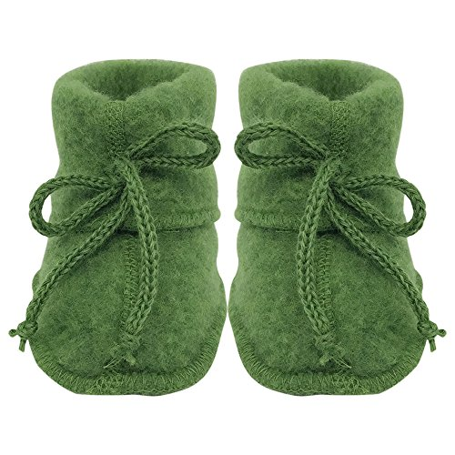 Green Wool Knit Ties (Infant Baby Warm Booties Socks with Ties, Organic Merino Wool Fleece (3-6 months, Green))