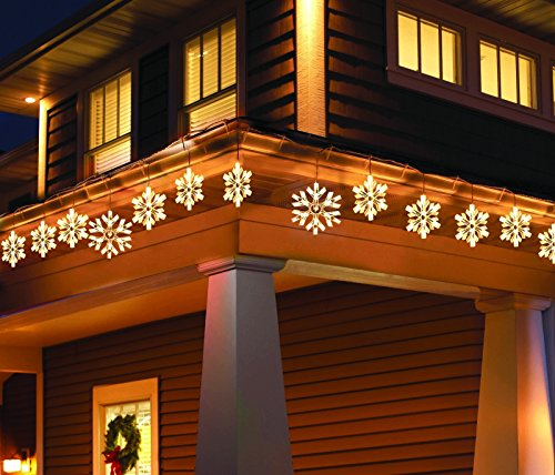 Holiday Time 105 Twinkling Snowflake Icicle Light Set, 9 Feet Lighted Length (10.5 Feet Total Length) (Yellow Lights) for $<!--$24.20-->