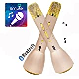 Portable Wireless Microphone and Speaker, Monodeal K088 Blutooth 4.1 Handheld Wireless Microphone Karaoke For Smule Sing,Youtube, IPhone Android Smartphone and PC - Golden