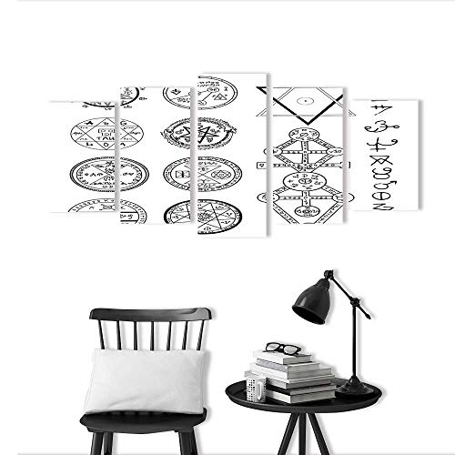 Modern Decoration for Living Room Bedroom Home Mystic with Magic Circles Pentagram and Symbols Halloween and Esoteric Concept Art Wall Decor Frameless -
