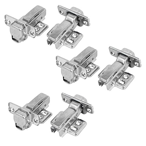 uxcell 304 Stainless Steel Concealed Self Close Cabinet Half Overlay Door Hinges 6pcs (Stainless Concealed Hinges Steel)