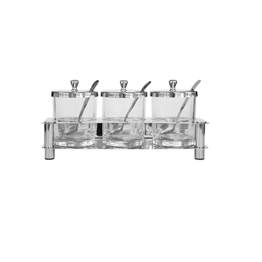 MINGRUIGONGMAO Seasoning Box - 3 pieces of stainless steel glass seasoning jar, 3 stainless steel lids, 3 stainless steel spoons/stainless steel bottom. Plush toys (Color : Clear) by MINGRUIGONGMAO