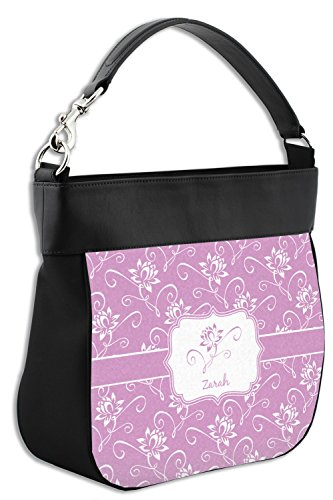 Purse Personalized Flowers Lotus Genuine Front Trim Hobo w Leather qEZnSvfW