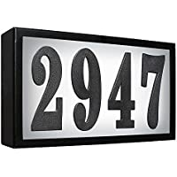 Qualarc SRST-AB60-LED-BLK Serrano Low Voltage Rust Free Galvanized Steel Rectangular LED Lighted Address Plaque with 4 Polymer Numbers, Black by Qualarc