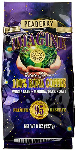 Kona Coffee Beans by Imagine - 100% Kona Hawaii - Medium Dark Roast Whole Bean (Peaberry – 8oz.)