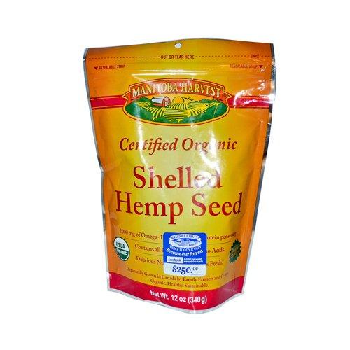 Manitoba Harvest Certified Organic Hemp Hearts Shelled Hemp Seed - Case of 6 - 12 oz - 95%+ Organic - Gluten Free -