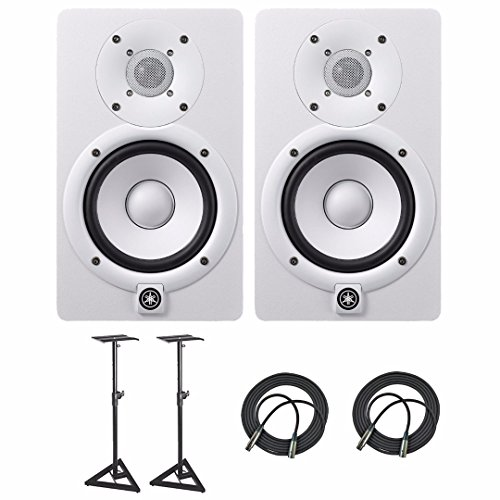 Cheapest Prices! Yamaha HS5 Powered Studio Audio Monitor (White, 2-Pack) with Two 25' XLR Cables and...