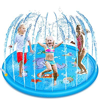 Sprinkler Pad Wading Pool Splash Play Mat for Infants Toddlers Children Outside Water Play Mat for 1-12 Years Boys Girls and Kids-Backyard Fountain Play Mat Upgraded 68' Summer Outdoor Water Toys: Toys & Games
