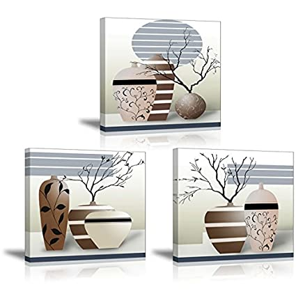 Amazon 3 Piece Vases Wall Art For Living Room Sz Gorgeous