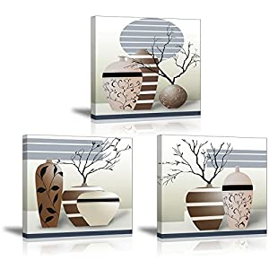 SZ HD Vase Wall Art with Abstract Branches, Elegant Canvas Print Paintings for Bedroom (Waterproof, Hook Mounted, 1