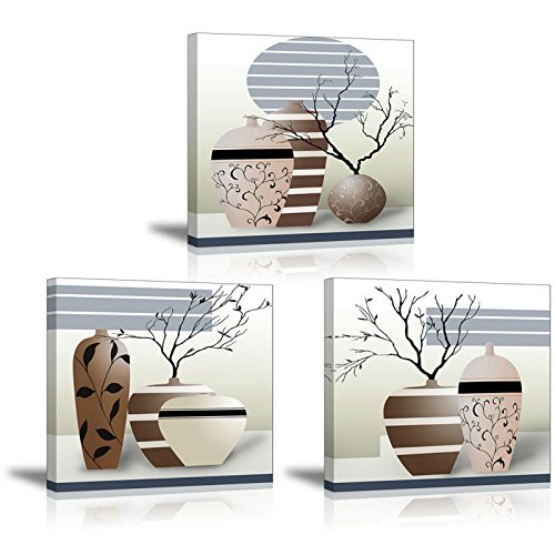 3 Piece Vases Wall Art for Bathroom/Hallway, SZ HD Gorgeous Contemporary Canvas Painting Prints of Modern Pots Picture (Waterproof Home Decor, 1 Thick Frame, Bracket Mounted Ready to Hang)