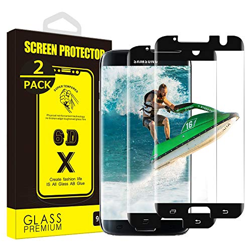 Yoyamo Dl029 [2 Pack] Screen Protector for Samsung Galaxy S7 Edge, [Case Friendly][Anti Scratch][9H Hardness][Bubble Free][HD Clear] - Black